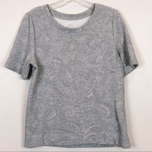 Ann Taylor LOFT Textured Grey Top